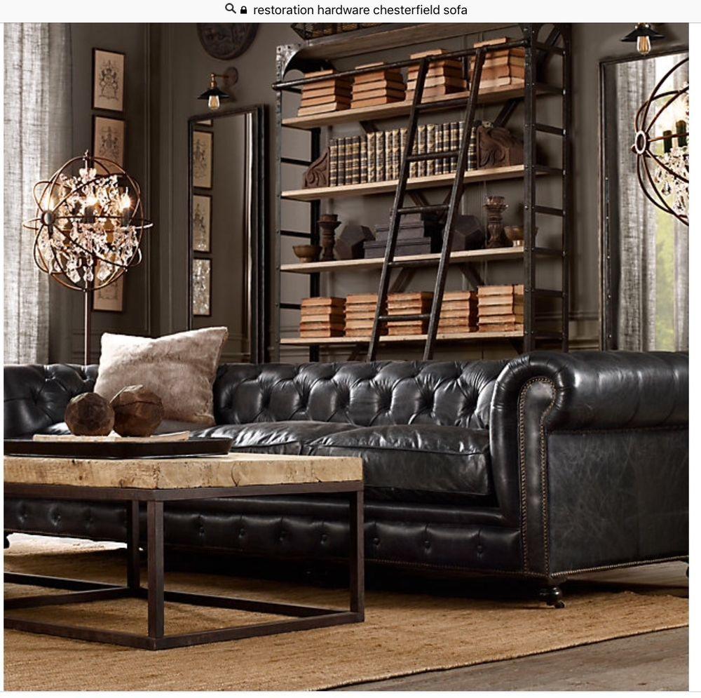 RESTORATION HARDWARE! large saddle black chesterfield sofa set ...