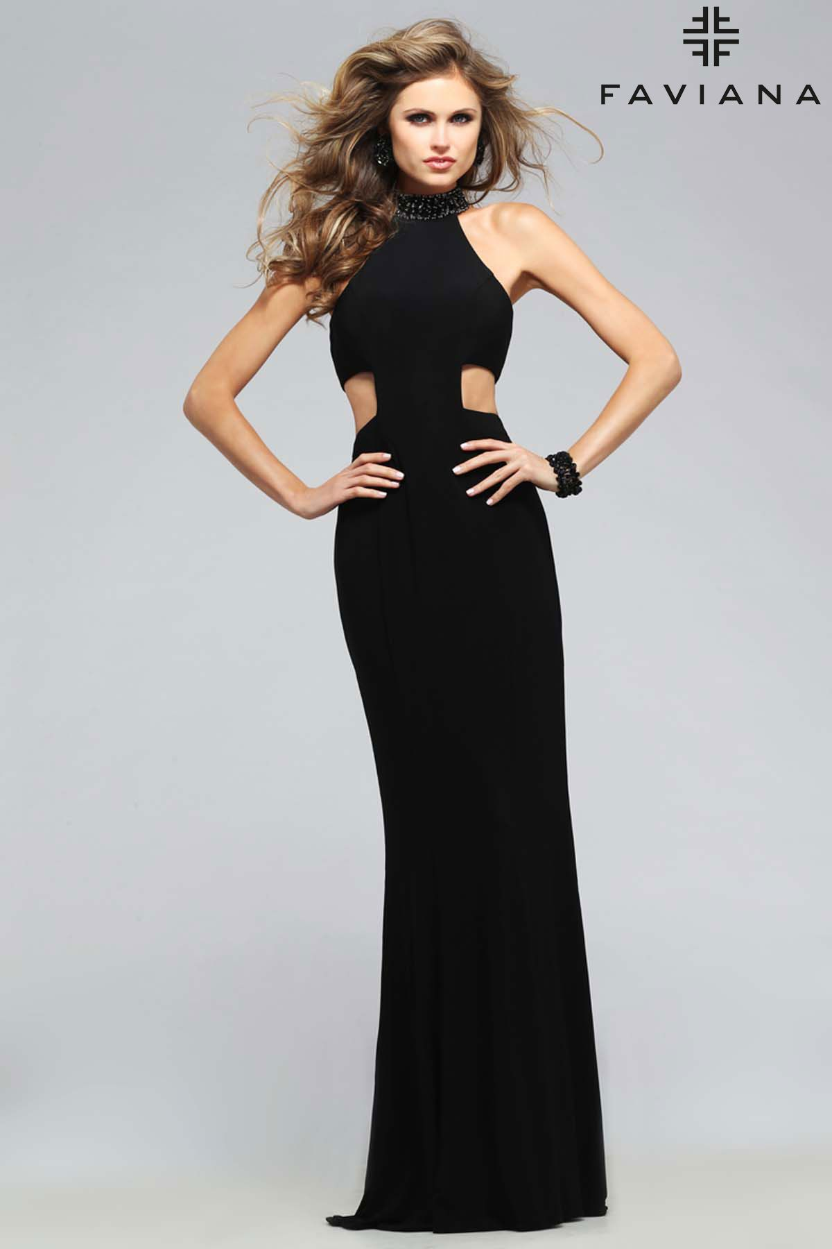 Jersey jewel neck with back strap details faviana style