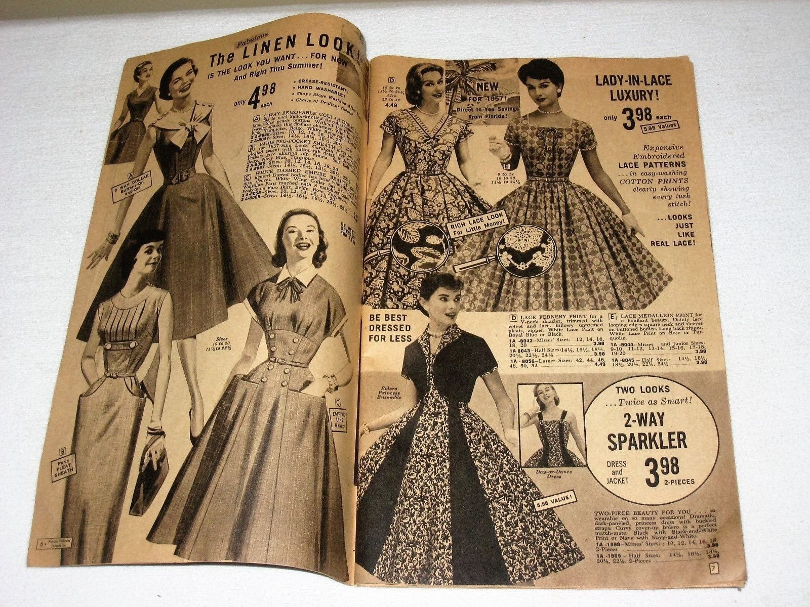 """This is an old Florida Fashions catalog with 40 pages. It is dated 1957 on the cover. Catalog contains original order form. Size is 6 ¼"""" x 10 ¼"""". Some wear from age but nothing major at all. There is a tiny tear at the bottom of the pages (see photo). 