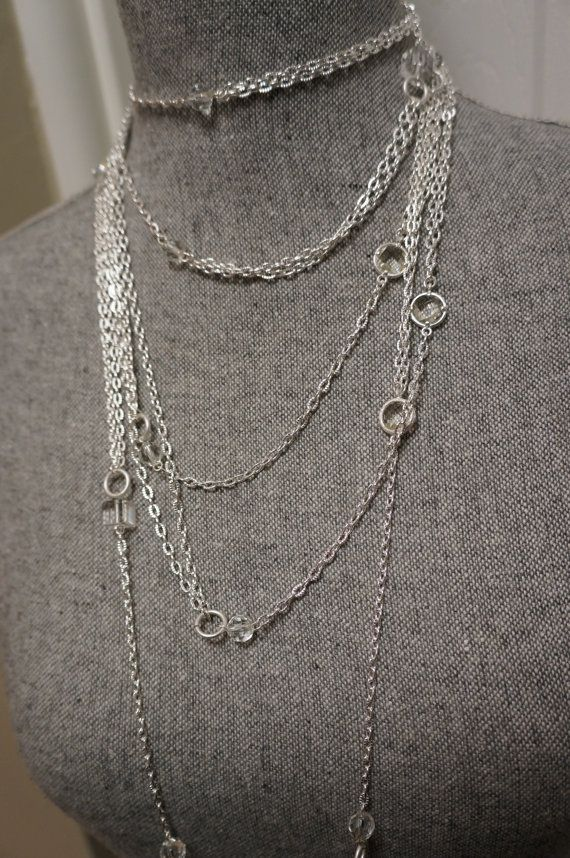 Silver Crystal and Mulit Chain Necklace by LinksandLocksDesigns, $20.00
