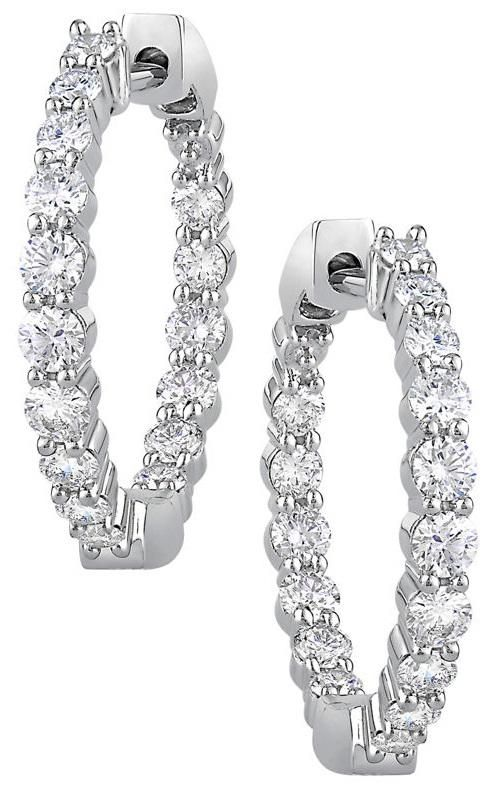 77690bf1393d Round Brilliant 1.00 ctw VS2 Clarity, I Color Diamond 14kt White Gold  Inside Outside 3/4 Inch Hoop Earrings