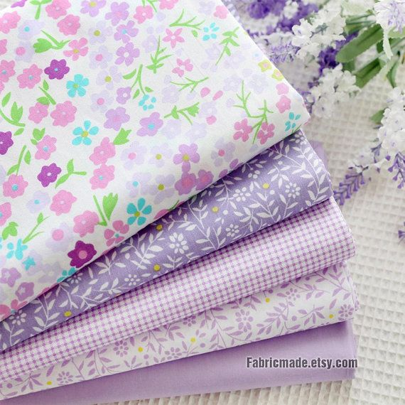 14 styles Lilac Purple Cotton Fabric, Floral Plaid Dots on Lilac Purple Cotton For Quilting Clothing- 1/2 yard