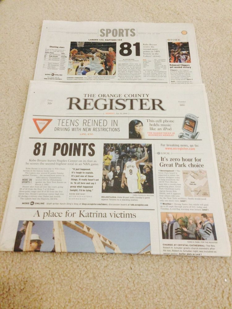 Kobe Bryant 81 Points Los Angeles Lakers Register Newspaper 01 23 2006 La Times Kobe Bryant 81 Los Angeles Lakers Kobe Bryant