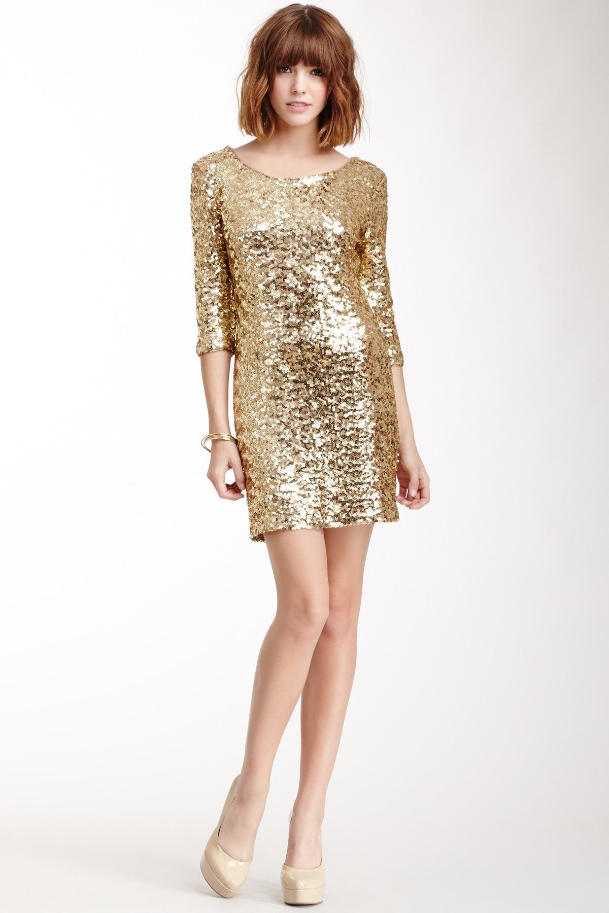 Gold sparkle wedding dress  BB Dakota Neva Sequin Dress on HauteLook  The Hair u The Dress