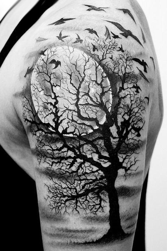 Tree Moon Tattoo On Arm Tattoos Tatuaż Tatuaże I
