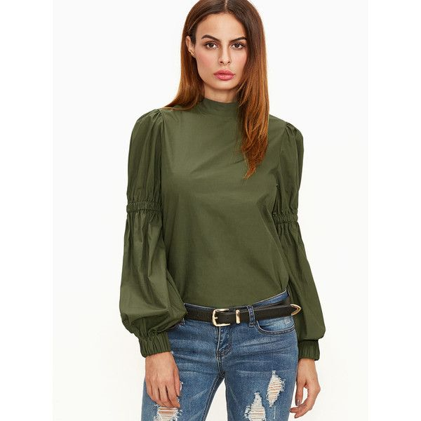 Olive Green Elastic Lantern Sleeve Blouse ($22) ❤ liked on Polyvore featuring tops, blouses, green, long length shirts, military green shirt, green shirt, army green top and long tops