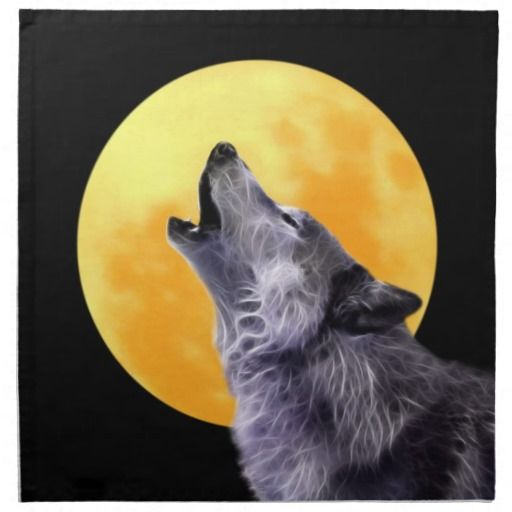 A3 Art Print  Wolf Howling at the Moon   Poster