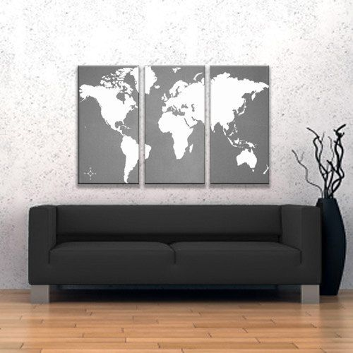 World map canvas giclee triptych grey and white 18500 via etsy world map canvas giclee triptych grey and white 18500 via etsy gumiabroncs Gallery