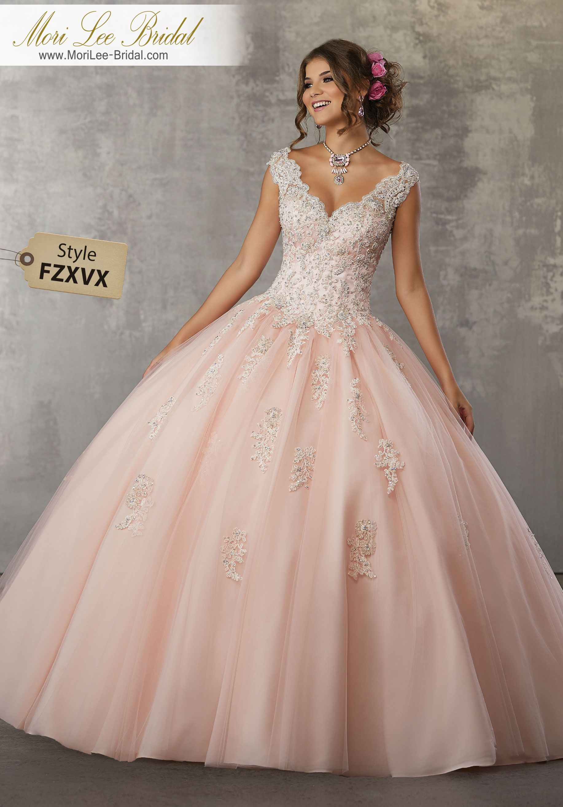 Style FZXVX Crystal Beaded Lace Appliqués on a Tulle Ball Gown This ...