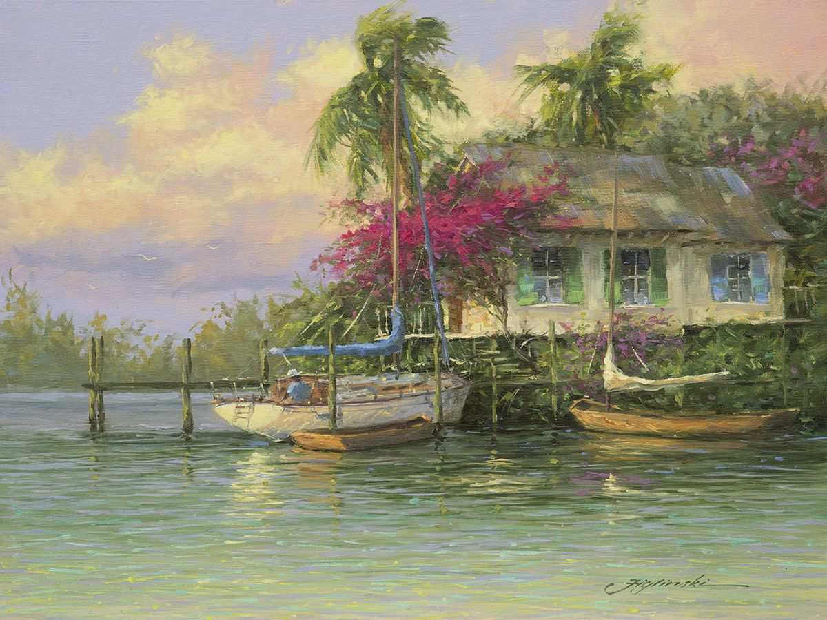 Lazy Afternoon by Martin Figlinski, Oil, 12 x 16#cottage #coastalcottage #cottagedecor #floridadecor #beachcottage #oilpainting #dailypaintworks  #interiordesign #decor #coastalliving #bahamas  #cottageart #Cottagestyle #beachcottage #figlinski  #cottagestyledecor #cottagecharm #cottagelife #cottageart #cottagehome #homedecor #oilpainting #artcollector  #coastalcottage  #coastaldecor #coastalliving #gifts #tommybahama #tommybahamahome #figlinski #tropicalart  #keywest