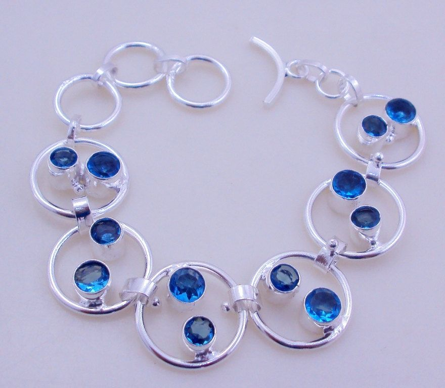 free shipping f-117 stunning Faceted Blue Topaz  .925 Silver Bracelet Jewelry by SILVERHUT on Etsy