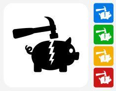 Breaking Piggy Bank Icon Flat Graphic Design vector art illustration