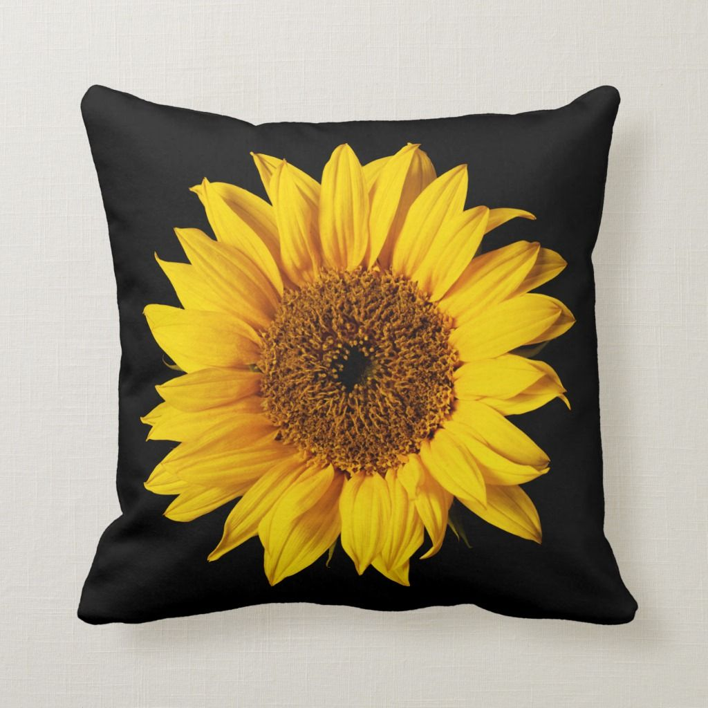 Sunflower Yellow on Black - Customized Sun Flowers Throw Pillow | Zazzle.com