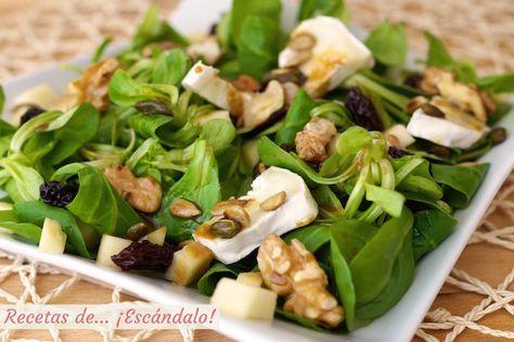 Receta de la ensalada de canonigos con queso de cabra, frutos secos y vinagreta…