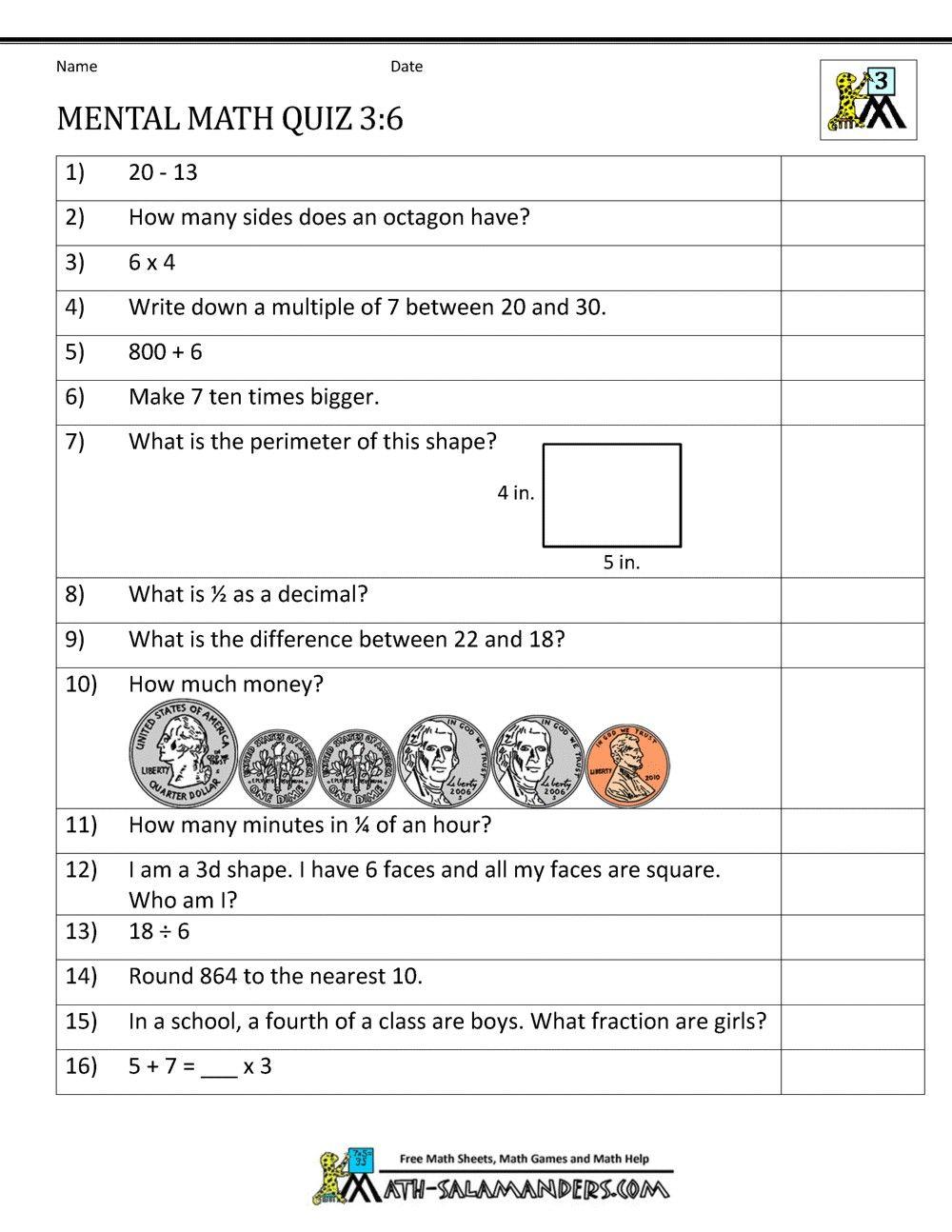 3 Worksheet Free Math Worksheets Third Grade 3 Measurement Units Of Length  Mental Math 3rd Gr...   Mental maths worksheets [ 1294 x 1000 Pixel ]