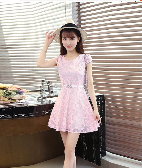 6cd49ffd307 All Match Summer Korean Fashion Short Sleeve Floral Slim A-line Sweet Lace  Dress  Unbranded  Casual
