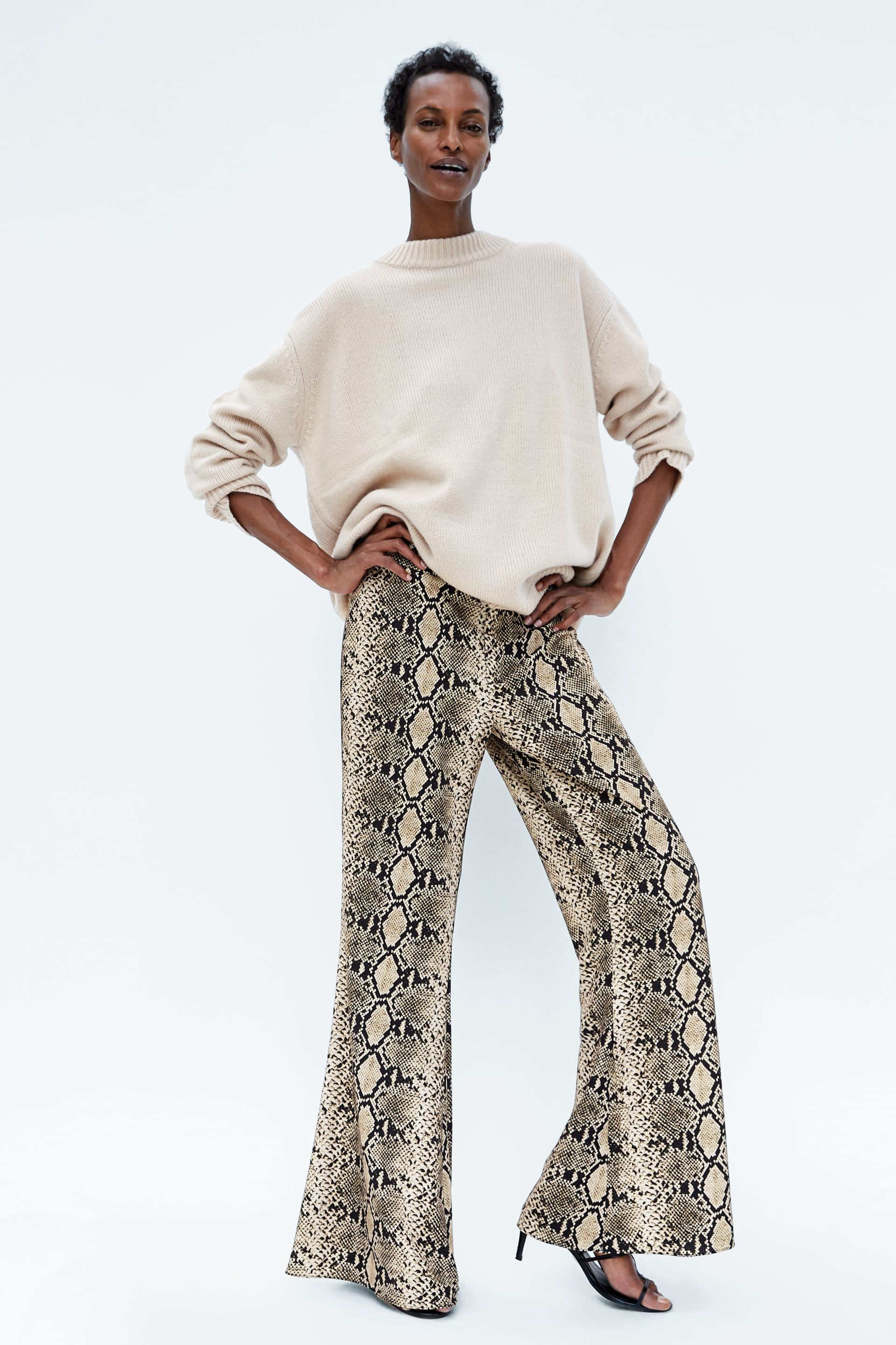 eb3b5cdc26 Image 1 of FLARED PANTS WITH SNAKESKIN PRINT from Zara | outfits in ...