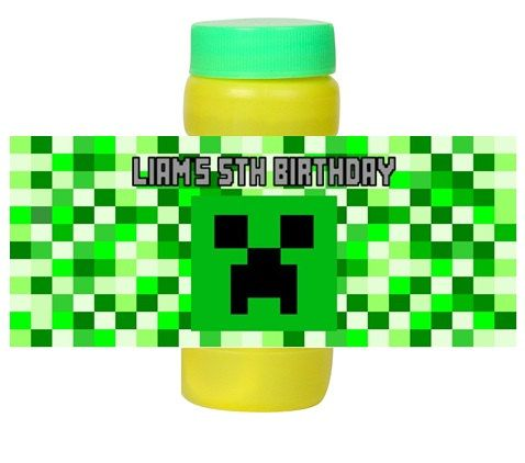 Personalized Minecraft Creeper Birthday Party Favors Bubble Labels by DannisCuteCreations