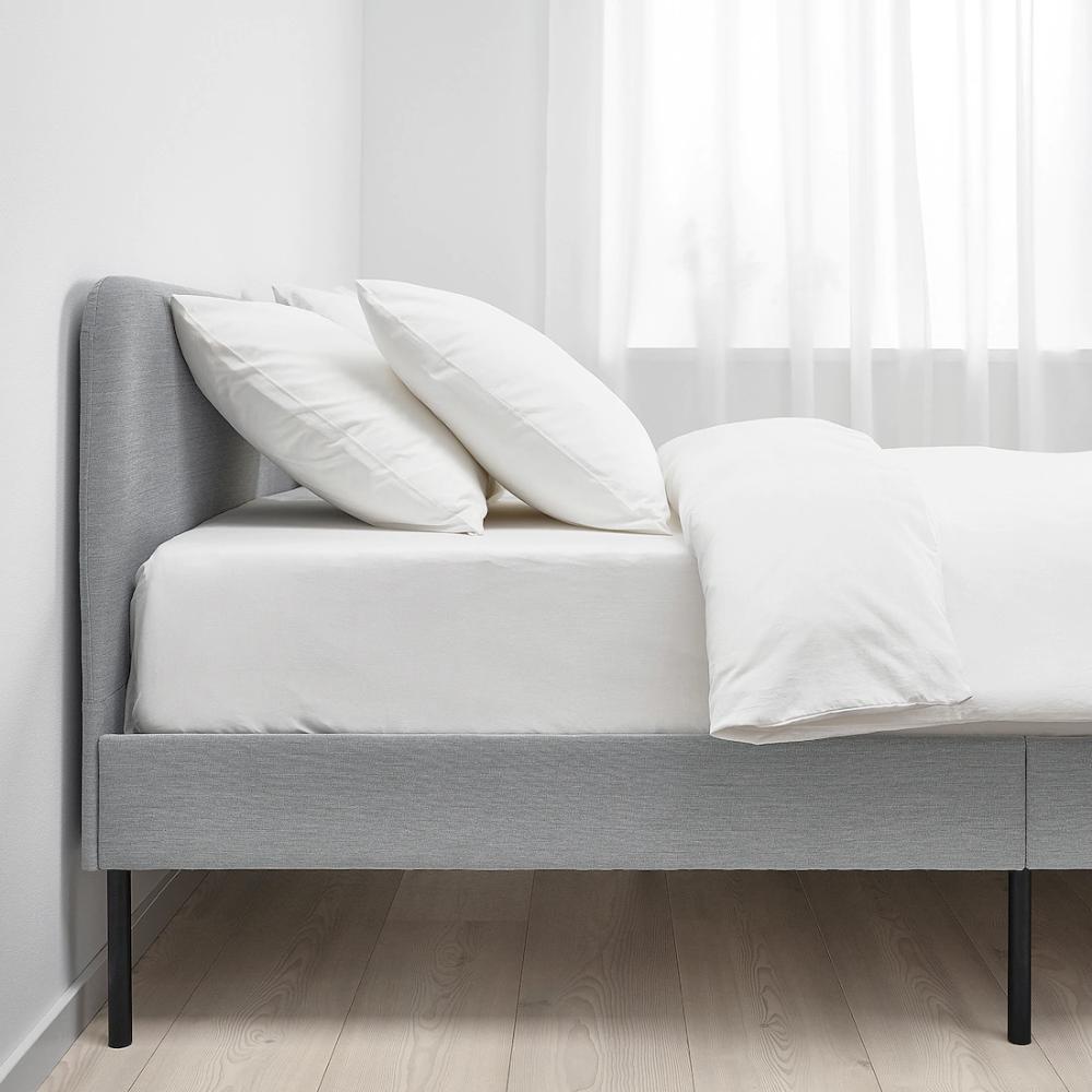 Slattum Upholstered Bed Frame Knisa Light Gray Queen In 2020