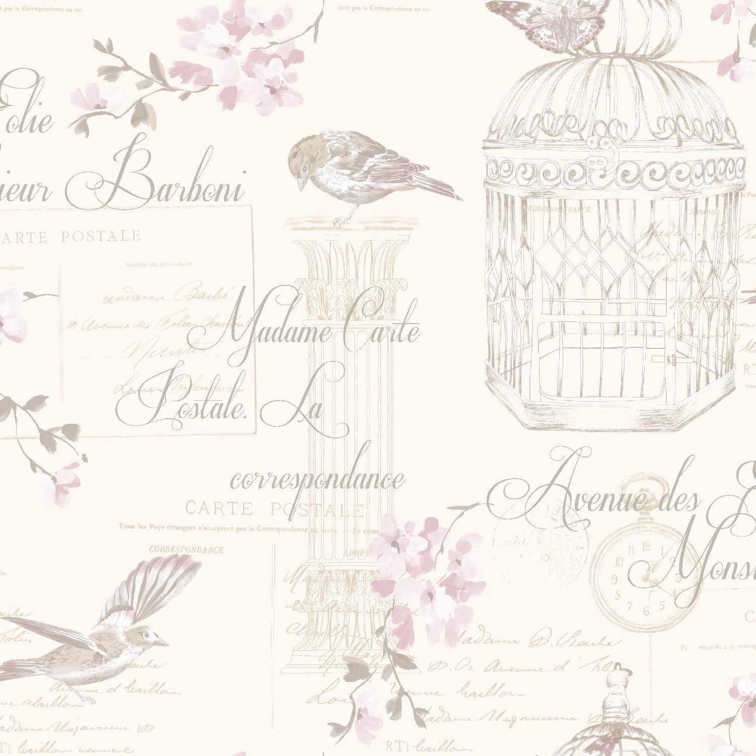 11319 AviaryDesigner Wallpaper Neutral Bird Wallpaper