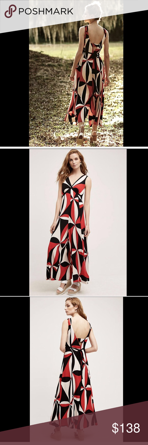 af372d093c24 Anthropologie HD in Paris Wide Leg Jumpsuit 4 Anthropologie HD in Paris Tallulah  Wide Leg Jumpsuit In a Modern Mod print in red, white & black babydoll ...