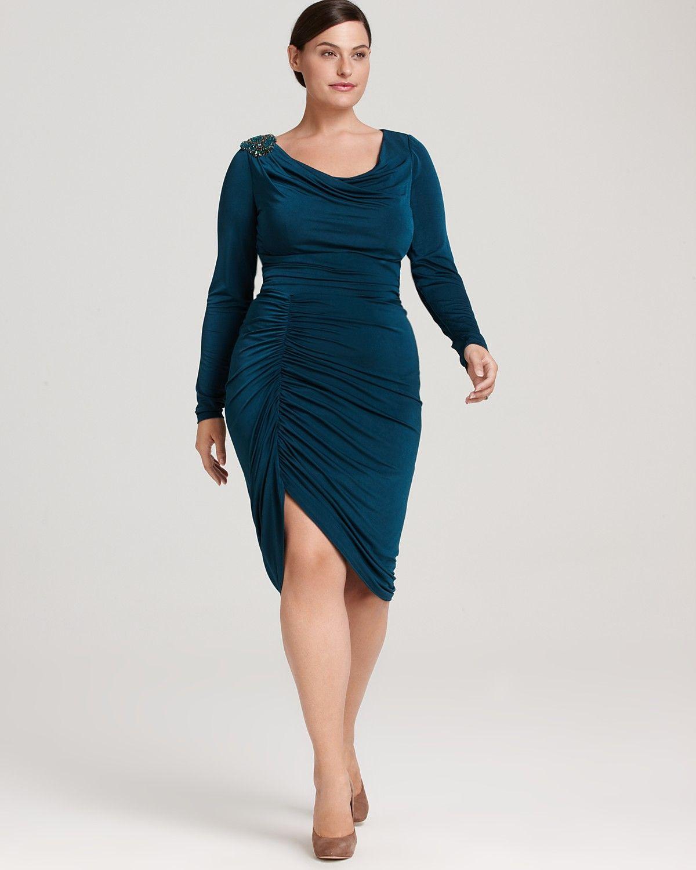 David Meister Plus Long-Sleeve Draped Dress | Bloomingdale\'s | The ...