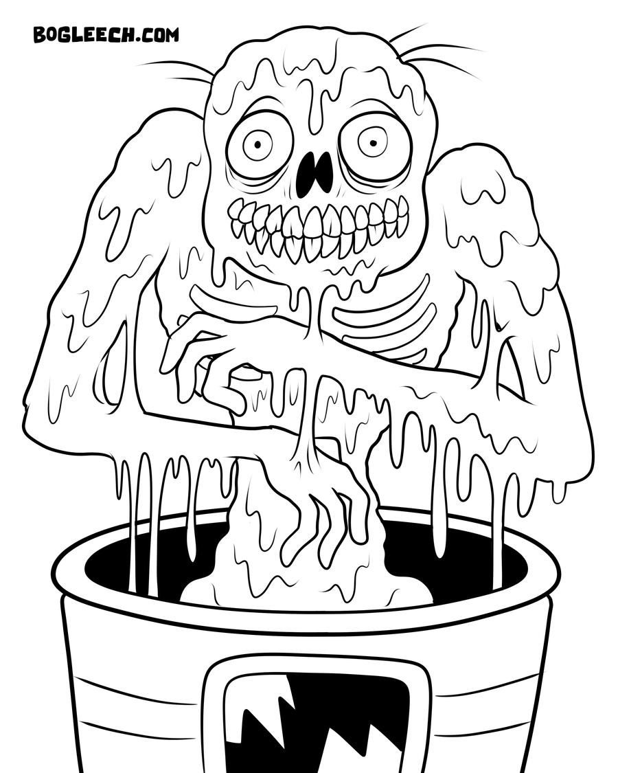 Scary Coloring Pages For Adults | Melty Zombie coloring page by ...