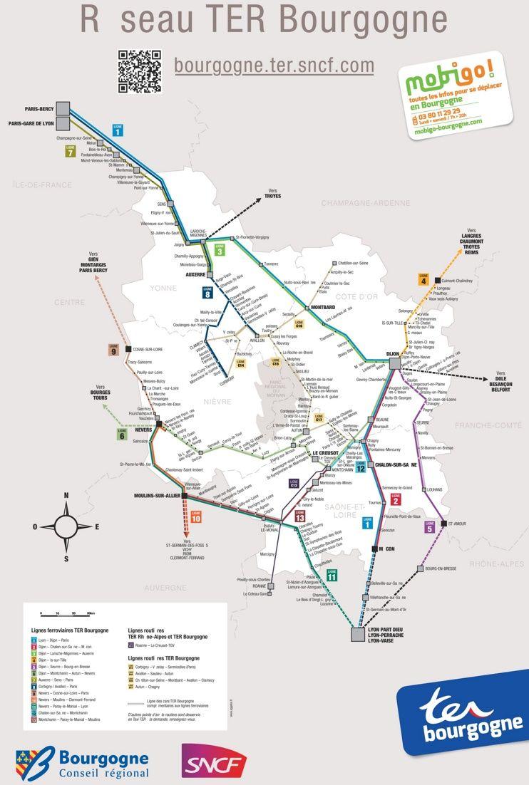 Burgundy rail map Maps Pinterest France