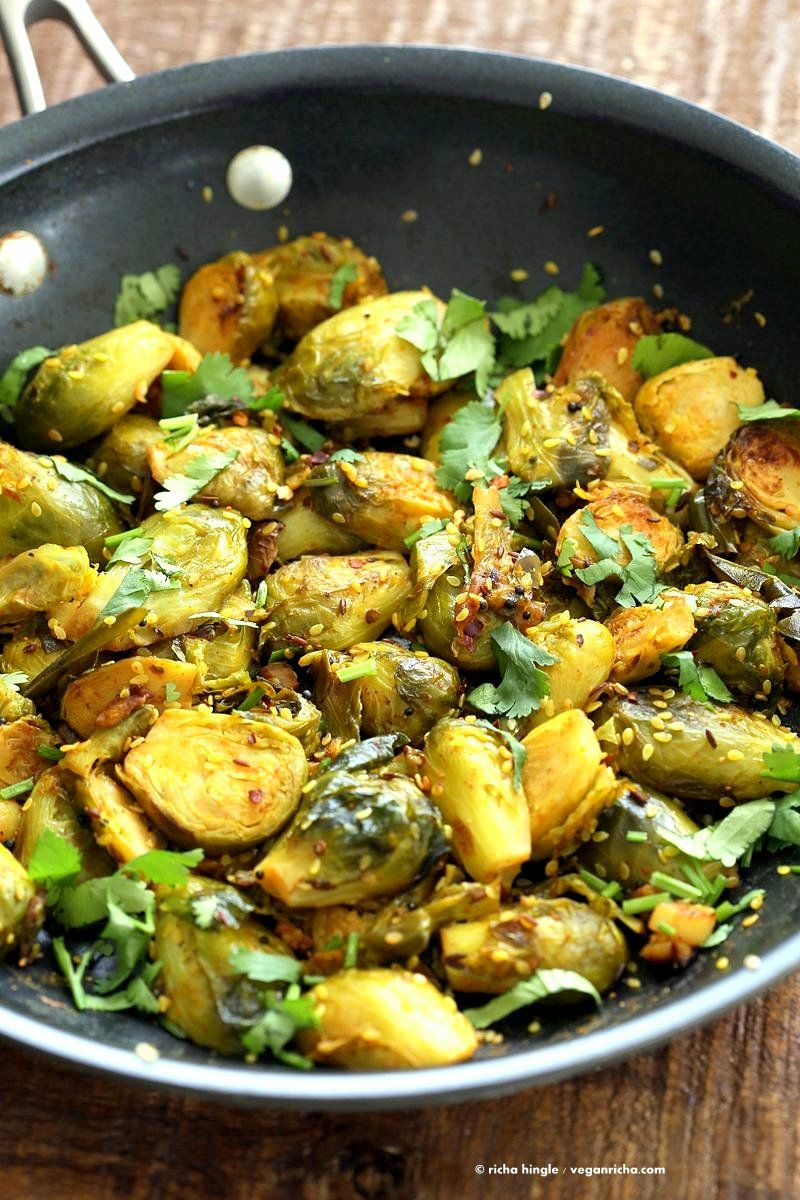 Pan Roasted Brussels Sprouts Subzi With Cumin And Mustard Seeds