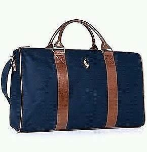New Polo Ralph Lauren Pony Travel Gym Overnight Weekender Duffle Bag Blue Brown Ebay