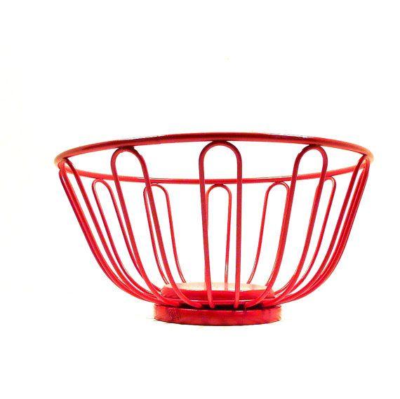 Red Wire Basket Retro Decor Kitchen Fruit Bowl Baskets By Nashpop 22 00