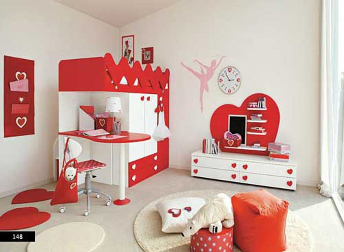 Attractive Girls Red Bedroom Ideas Part - 1: Bedroom, Fascinating Bedroom Design For Kids Red Bed Design For Girls With  Love Wall Sticker Balerina Wall Sticker White Chest Of Drawer Pol.