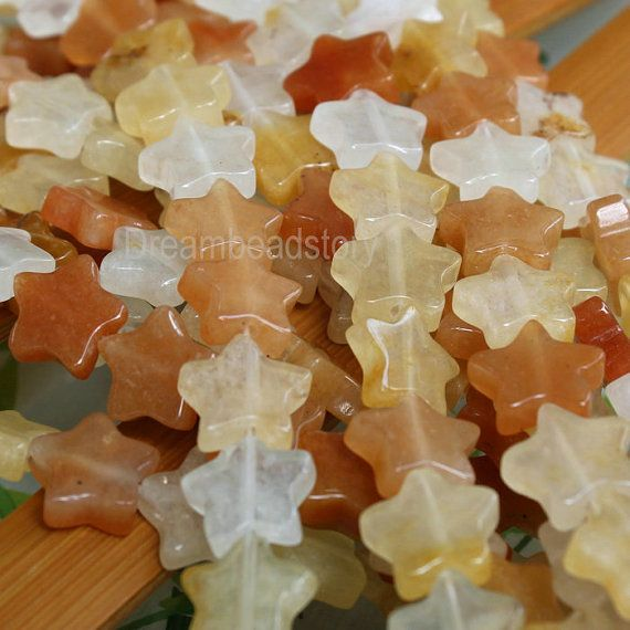 Natural Star Beads Flat Astral Stars 12mm Yellow Jade Stone Beads Supplies