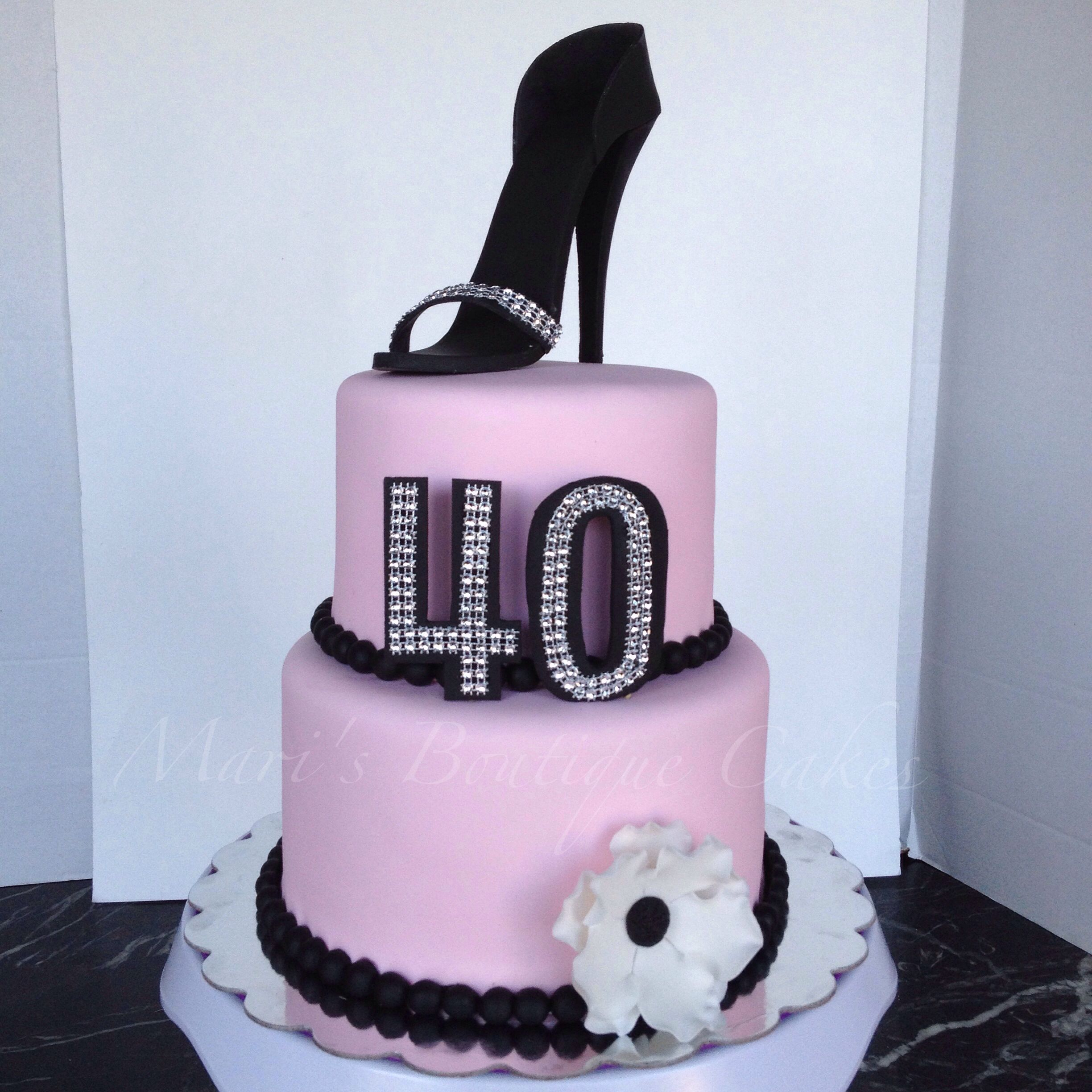 Pink And Black 40th Birthday Cake With Heel Topper