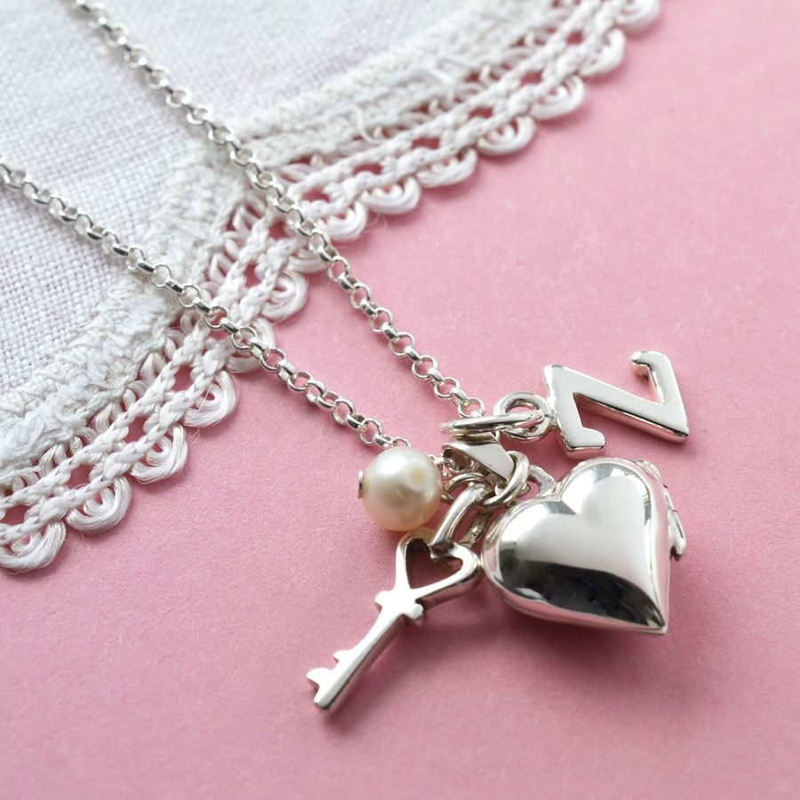 Tiny Silver Heart Locket with Key, Pearl and Silver Letter Charm