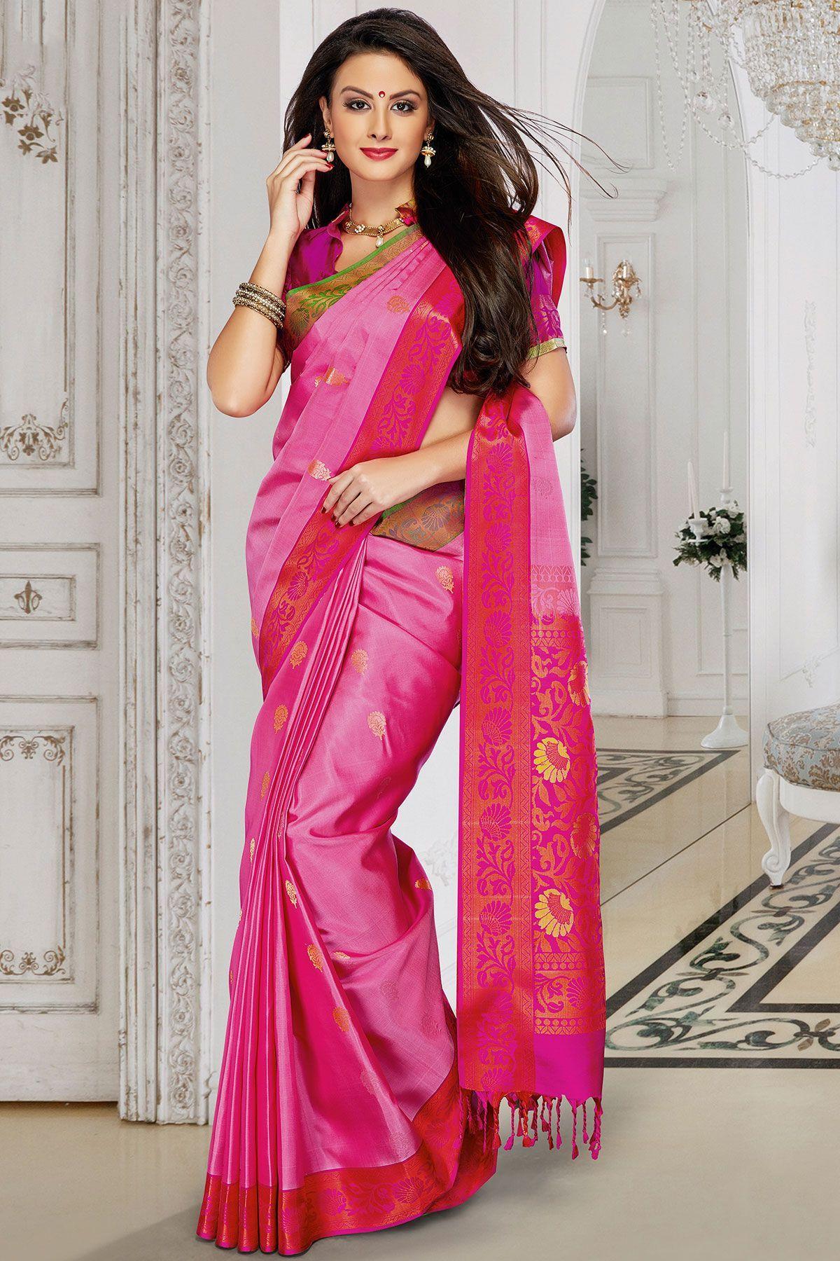 Off white tussar silk saree pink u gold zari woven handllom silk sareesr  sarees
