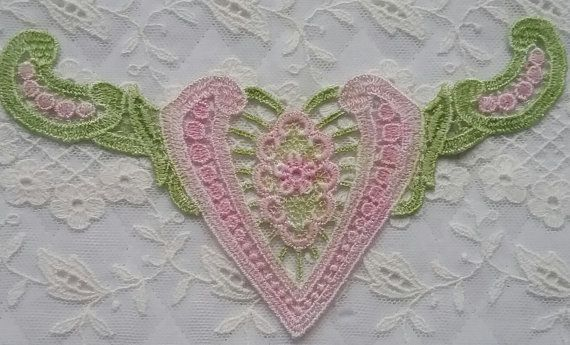 Pink Valentine Heart Hand Dyed Venise Lace by RavioleeDreams