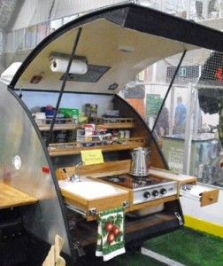 Slide out counter and stoveteardrop kitchen ideas paper for Teardrop camper kitchen ideas