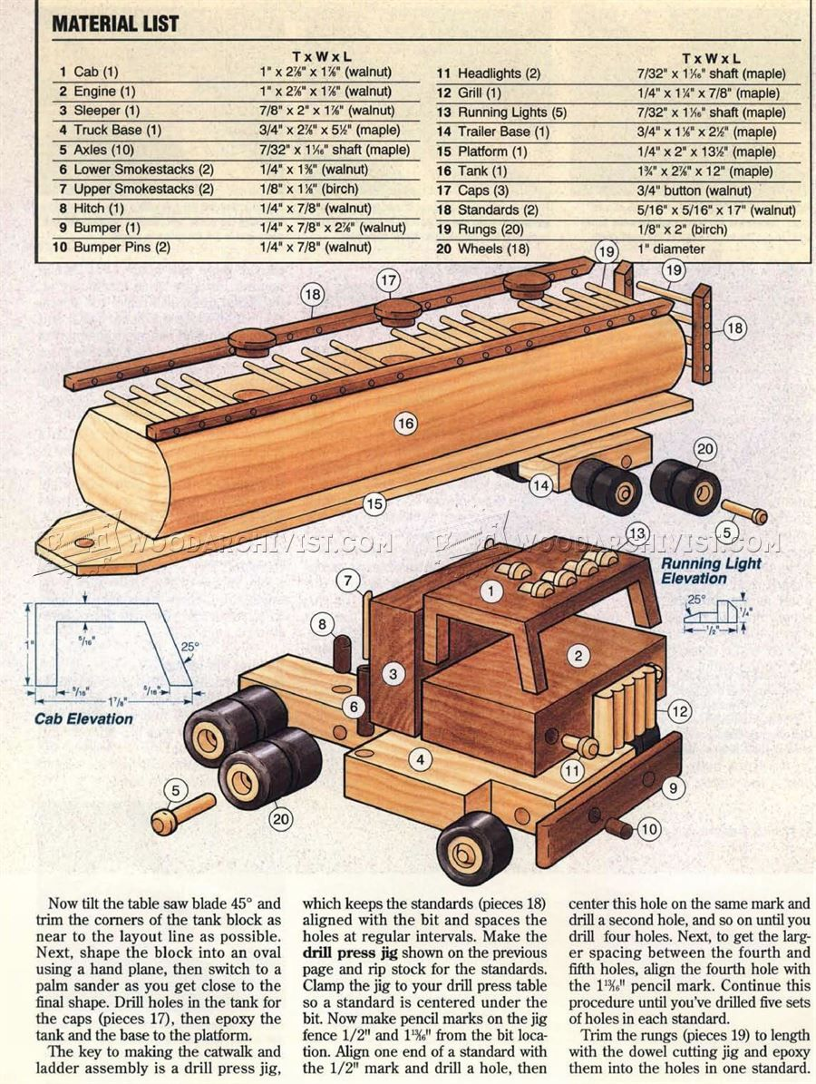 wooden toy tanker truck plans - wooden toy plans | woodwork