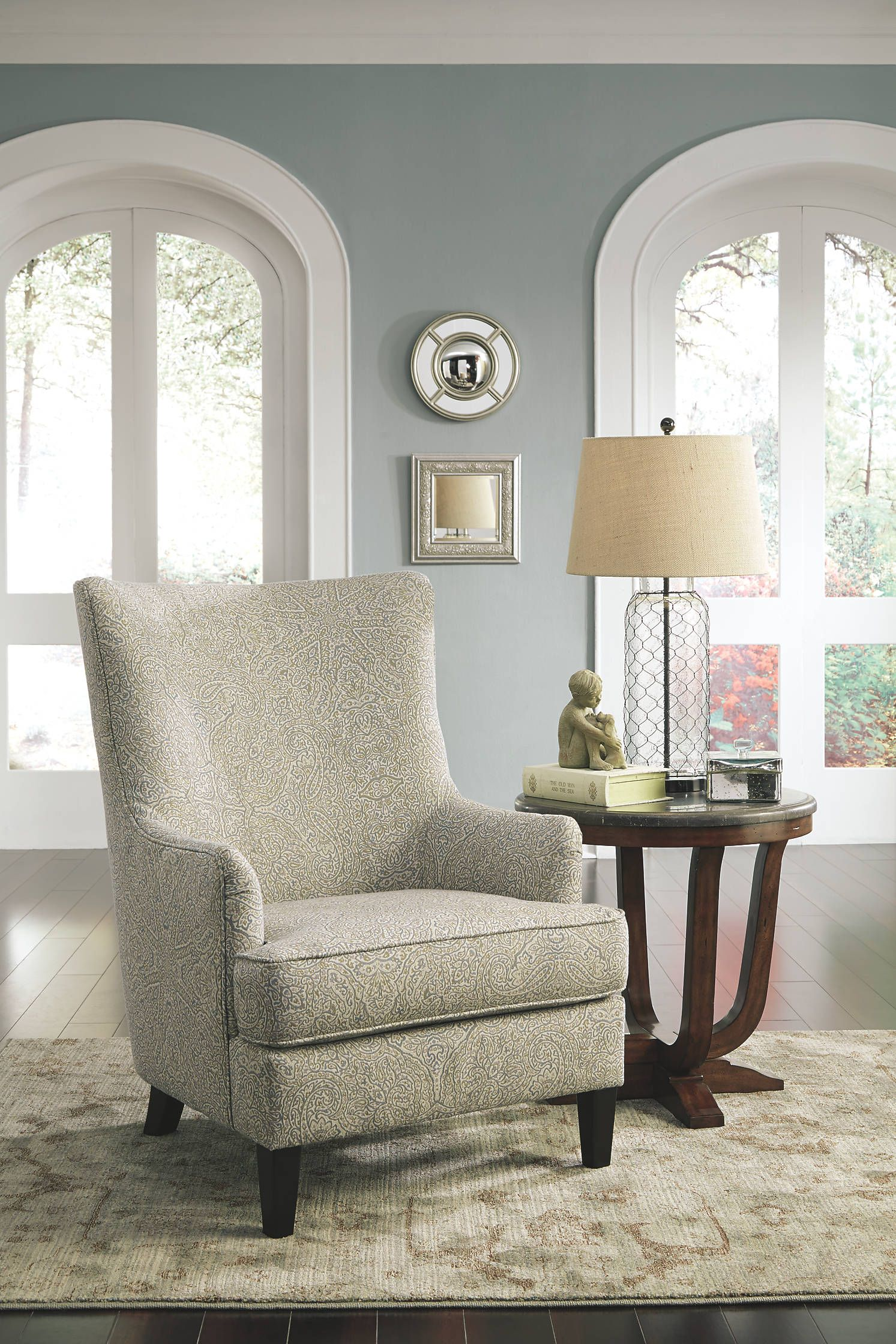 Traditional Scalloped Wingback Chair In Brocade Upholstery Austin