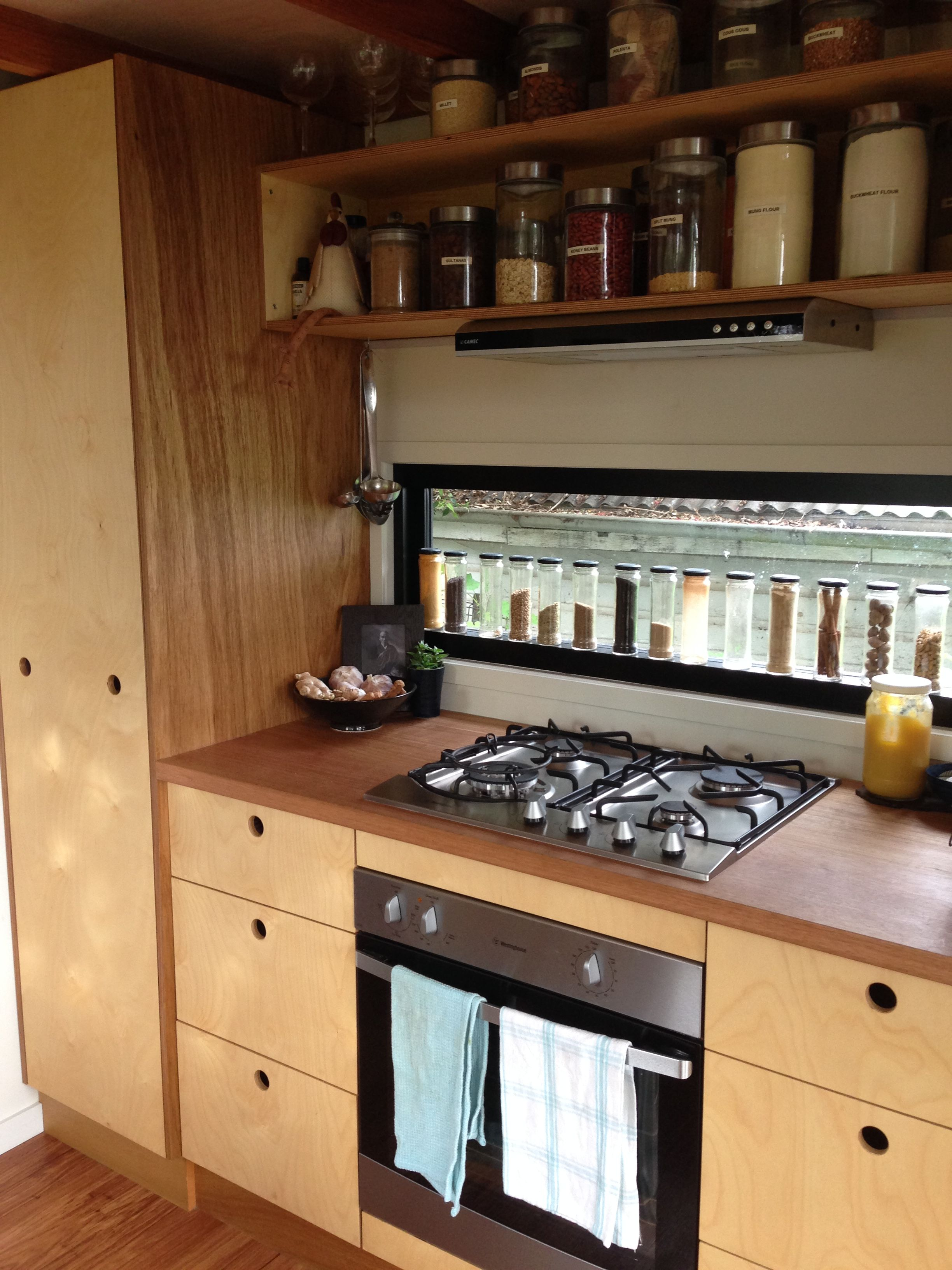 zen tiny house plywood kitchen with splash back spice rack window rh pinterest com