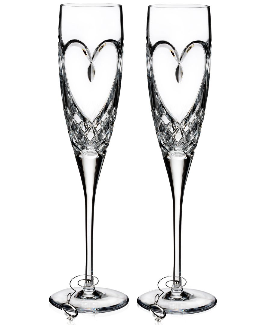 Waterford Crystal Pair Huntley Celebration Toasting Crystal Flutes