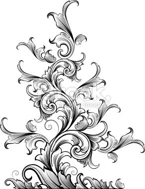 Vector drawing of classic Victorian scrollwork designed by