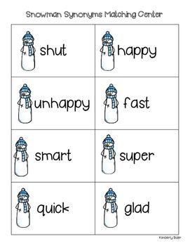 Snowman Synonyms Matching Center and Recording Sheet | 4