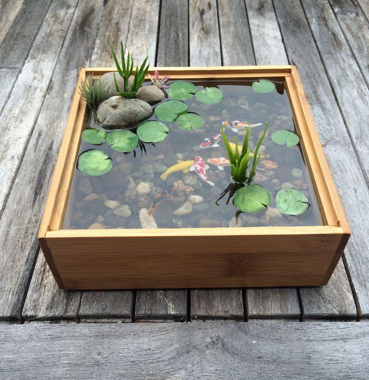 Photo of Ideas de rocas decorativas: paisaje de agua de estanque Koi en miniatura hecho de bambú