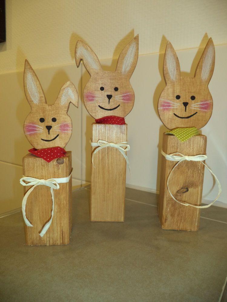 Holzpfosten Deko holzpfosten deko hasen ostern neu in möbel wohnen dekoration
