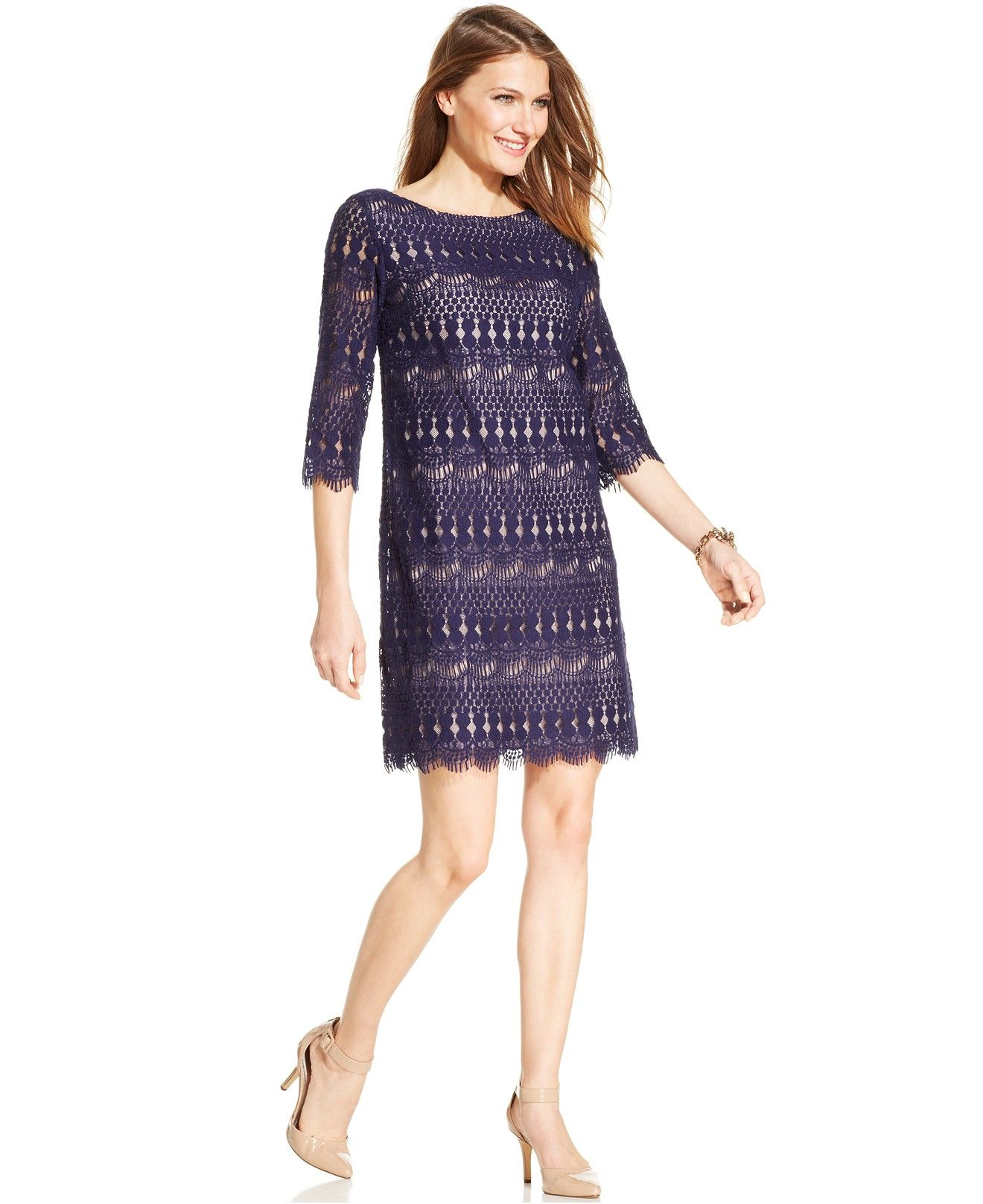 Jessica Howard Three-Quarter-Sleeve Crochet Lace Shift - Shop all ...
