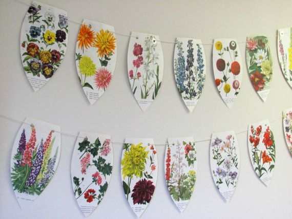 Garden flowers bunting ~ Floral paper party garland ~ Upcycled flower banner ~ Eco-friendly wall decor ~ Wedding backdrop ~ Tea party flags