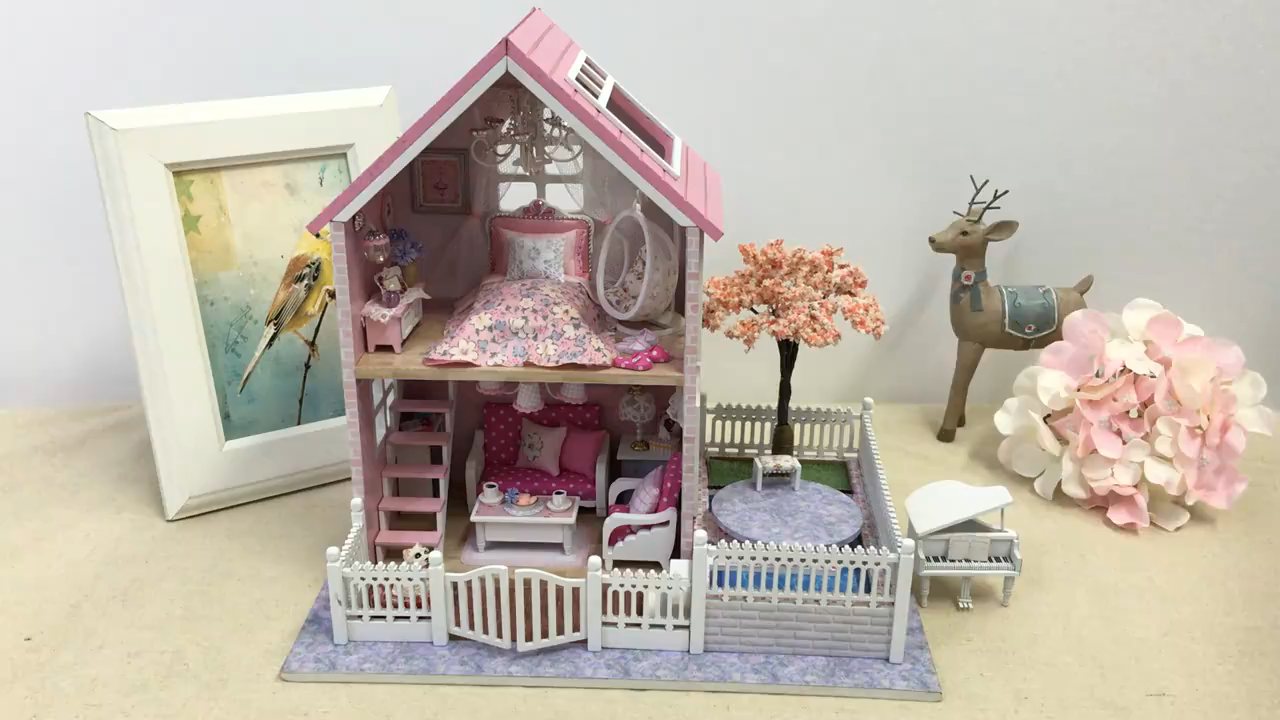 Doll House Miniature DIY With Furnitures Wooden House