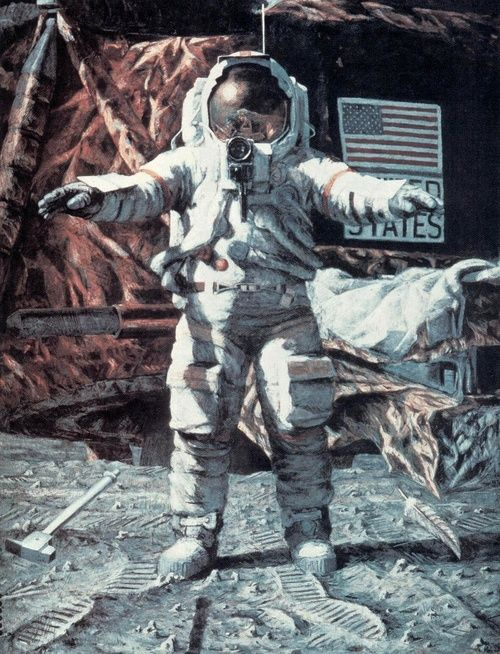 Alan Bean - The hammer and the feather, 1987.